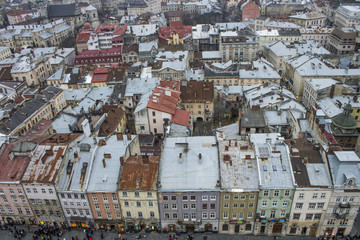 Colorful houses in the city center, Lviv, Ukraine