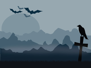 Silhouette of raven sitting on the old cross with bats and mountains in background