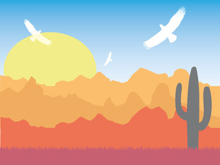 Desert with silhouette of eagles and cactus on sunny day retro