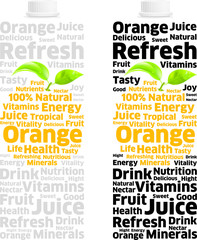 Nectar Orange Juice Pack into Words and Letters
