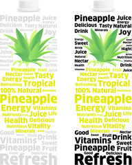 Nectar Pineapple Juice Pack into Words and Letters