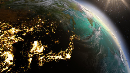 Planet Earth East Asia zone using satellite imagery NASA