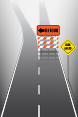 Road with detour signs