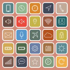Mobile phone line flat icons on orange background