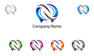 abstract, chat, community, talk, infinity, social, message,  vector, logo, design