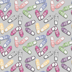 Realistic colorful sport gumshoes.  Seamless pattern. Flat style. View from above