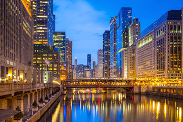 Fotobehang Kanaal Chicago downtown and Chicago River