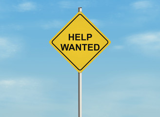 Help wanted. Road sign on the sky background.