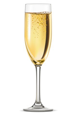 Glass of champagne isolated on white background. Vector illustra