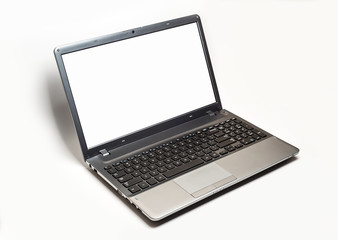 open Laptop computer with blank empty screen isolated on white background