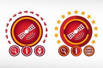 Satellite icon and creative design elements