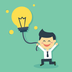 Happy Business man catch idea balloon