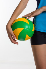 Young  sport woman with volleyball ball isolated