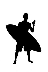 Silhouette of surfer with surf board