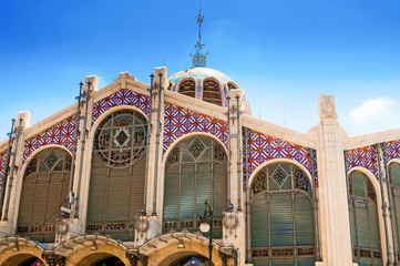 Hall of Central Market in Valencia, Spain. One of the oldest Eur