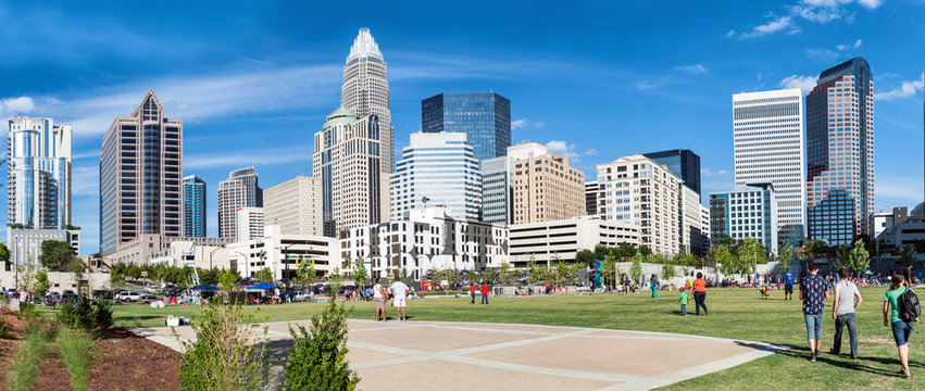 Charlotte, NC. United States. Panoramic view at the uptown skyline
