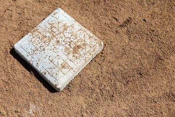 Close up  of second base at a softball field in New Mexico