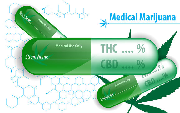 vector medical marijuana capsule concept background