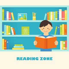 Boy Reading a Book against Library Bookshelves with Book. Vector EPS 10