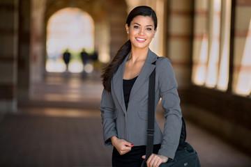 Beautiful pretty woman professional suit modern style executive entrepreneur