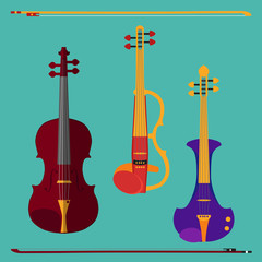 Set of different violins. Classical violin, electric violin with bows. Isolated musical instruments on teal background. Vector illustration in flat style design.
