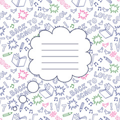 Back To School Seamless Background with space for your text. Cute paper notebook cover. Sketchy Notebook Doodles with Lettering - Hand-Drawn Vector Illustration Design Elements on Lined Sketchbook.