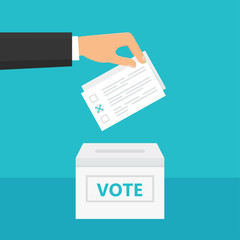 Man holding ballot paper in his hand and putting it into ballot box. Elections and Voting Theme Illustration