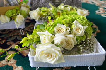 A bouquet of rose on as a gift on a wedding day. Malay wedding ceremony in Malaysia.