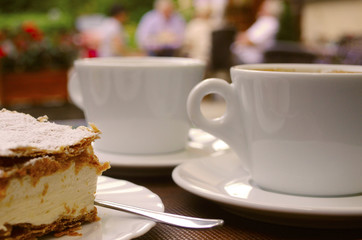 cheescake and coffee