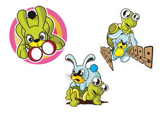 vector illustration graphic cartoon Rabbit Turtle race punch Boxing