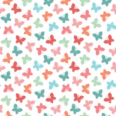 seamless hipster background butterflies bright pastel colors