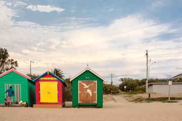 Brightly colored beach huts