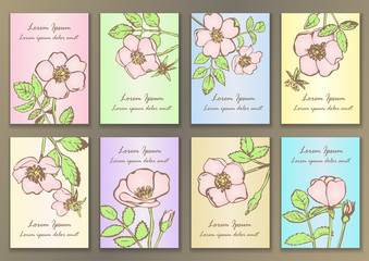 Set Vintage Posters with hand drawn roses