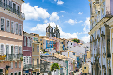 Picture postcard view of the colonial skyline of the historic center of Pelourinho in Salvador da Bahia, Brazil