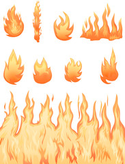 Various fire and flame vector images
