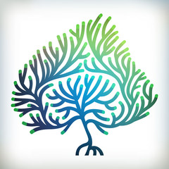 Abstract stylized leaf shaped vector Tree silhouette.