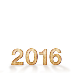 wood 2016 year number on white background, Template for adding y