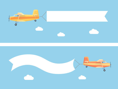 Flying vintage plane with the advertising banner modern flat