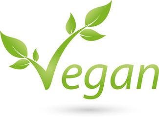 Vegetarische Symbol mit Blättern, Vegan, Logo