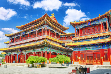 Foto auf Leinwand Peking Beautiful View of Yonghegong Lama Temple.Beijing. Lama Temple is