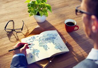 Businessman Planning Notepad Global Business Teamwork Concept