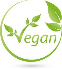Vegetarisches Symbol mit Blättern, Vegan, Logo