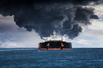 Burning Tanker ship on the sea.