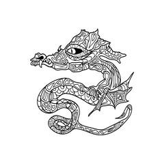 dragon tattoo coloring zentangle
