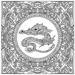 dragon coloring zentangle