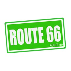 ROUTE 66 white stamp text on green