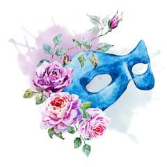 Watercolor venecian mask