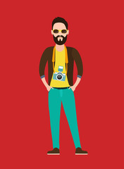 Hipster Photographer, journalist flat character  with the camera