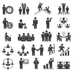Business people in work. Office icons, conference, computer work