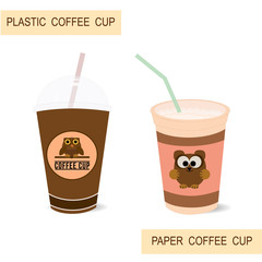 Plastic and paper coffee cups. Illustration of isolated cups with design.